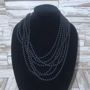 Black Layered beaded necklace.